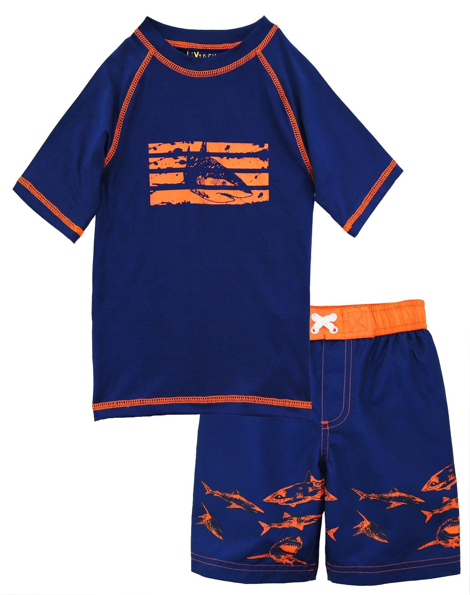 iXtreme Little Boys Swimwear Shark Rash guard Swim Board Short Trunk, Navy, 4T