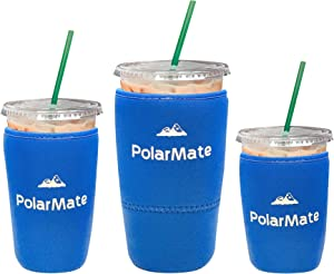 3 Pack Reusable Iced Coffee Sleeve | Insulator Cup Sleeve for Cold Drinks Beverages | Neoprene Cup Holder | Ideal for Starbucks, McDonalds, Dunkin Donuts & More (Blue)