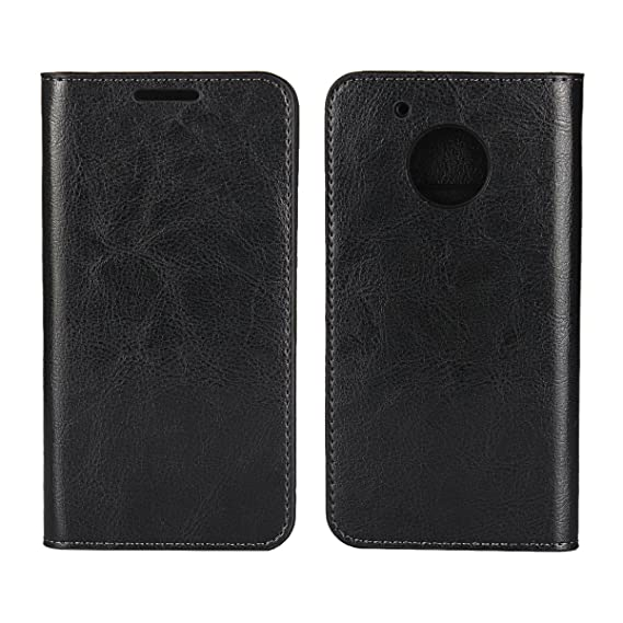 huge discount 61da4 23c8b Moto G5 Plus Case, Jaorty Genuine Leather Folio Flip Wallet Case Cover Book  Design with Kickstand Feature with Card Slots/Cash Compartment for ...