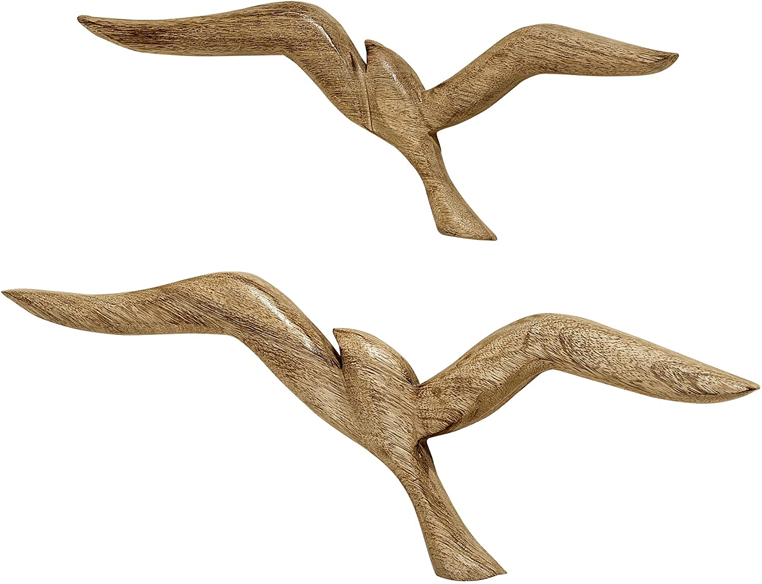 WHW Whole House Worlds Americana Flying Sea Gulls Wall Sculptures, Curated Set of 2, Handcrafted, Carved of Solid Mango Wood, Each Bird Over 1 Foot Long (18 x 6 1/4 and 14 1/4 x 5 Inches)