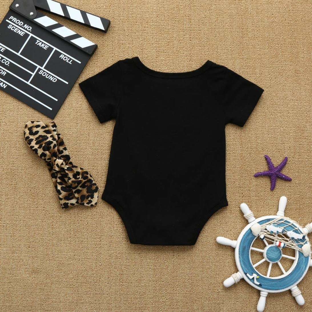 67e2cb562b1 Amazon.com: Pollyhb Baby Girl Romper, Newborn Infant Letter  Jumpsuit+Leopard Headband Outfits Clothes Set(0-18 Months): Clothing