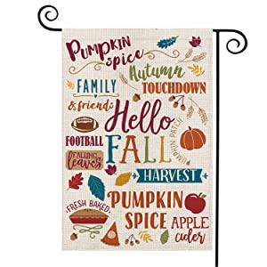 AVOIN Fall Activities Garden Flag Vertical Double Sized, Seasonal Autumn Football Leaves Pumpkin Apple Family Friend Burlap Yard Outdoor Decoration 12.5 x 18 Inch