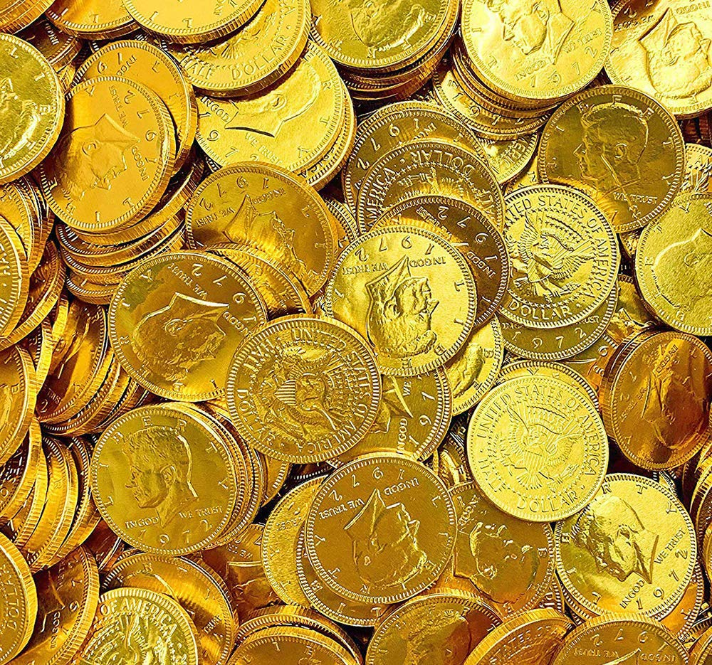 Chocolate Gold Coins - Large Bag of 60 Pieces Kennedy Gold Coins for Party Favors, Cake Decorations, Novelty Supplies or Treats for Halloween, New Year, St. Patrick's Day or Baby Showers by Kicko (Image #4)