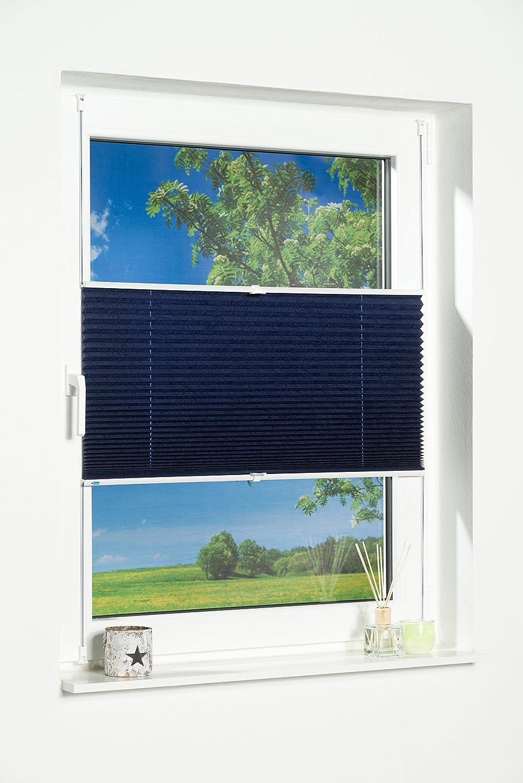 'K de Home Wohn-Guide Klemmfix sans perçage de Store plissé Palma lumière Protection, Fixation sans vis, Effet plissé, Plastique, Tissu, Bleu, 130 x 100 cm China 329674-7