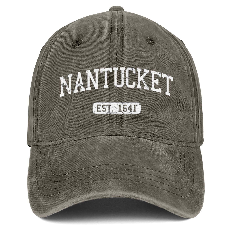 Mens Women Nantucket Massachusetts Est 1641 Cap Adjustable Denim Cowboy Hats Sports Caps