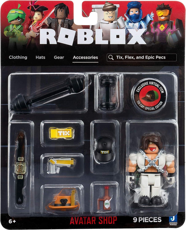 Includes Exclusive Virtual Item Roblox Avatar Shop Series Collection Flex and Epic Pecs Figure Pack Tix