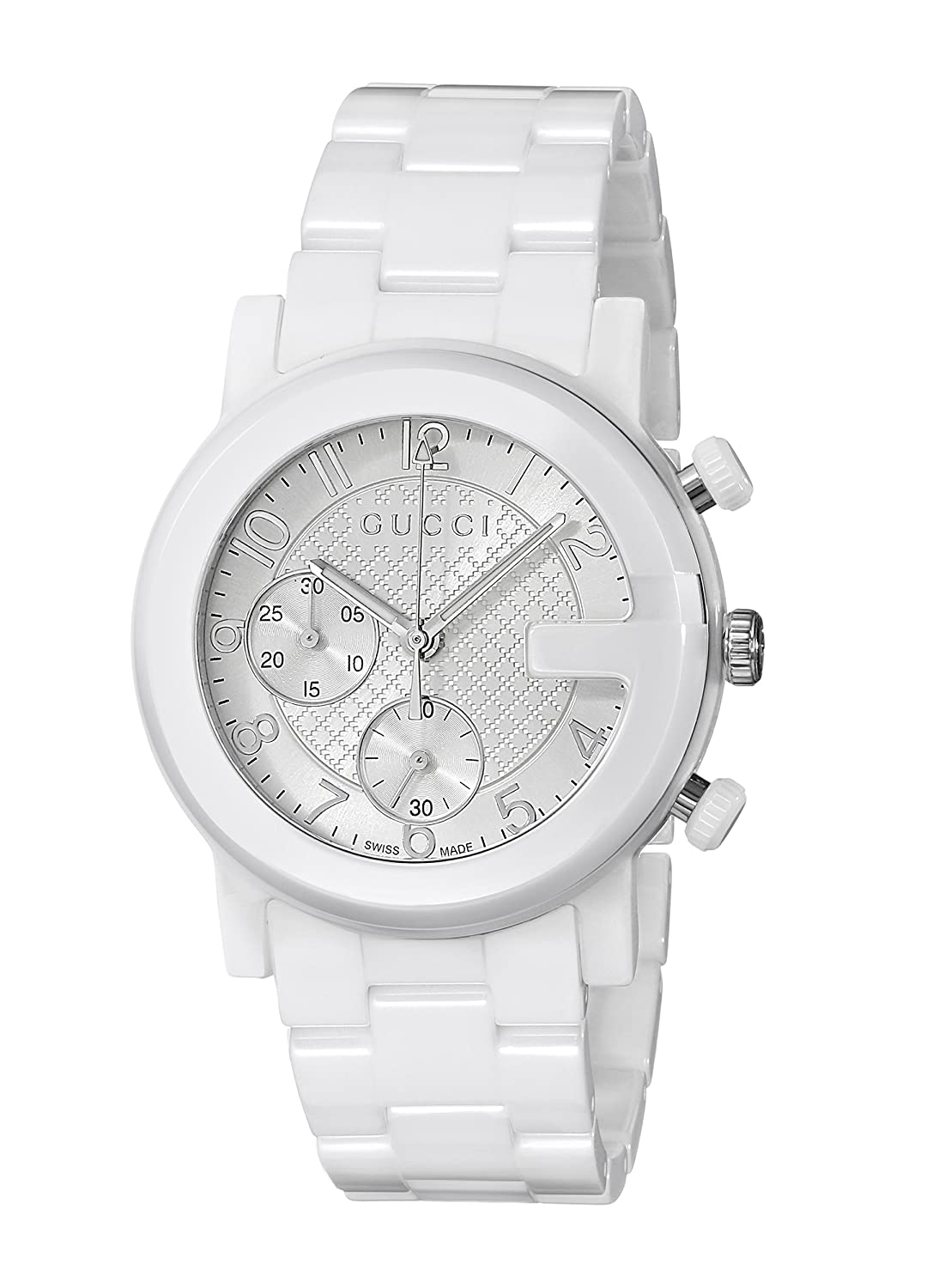 d73e3d02a30 Amazon.com  Gucci G - Chrono Collection Analog Display Swiss Quartz White  Men s Watch(Model YA101353)  Watches