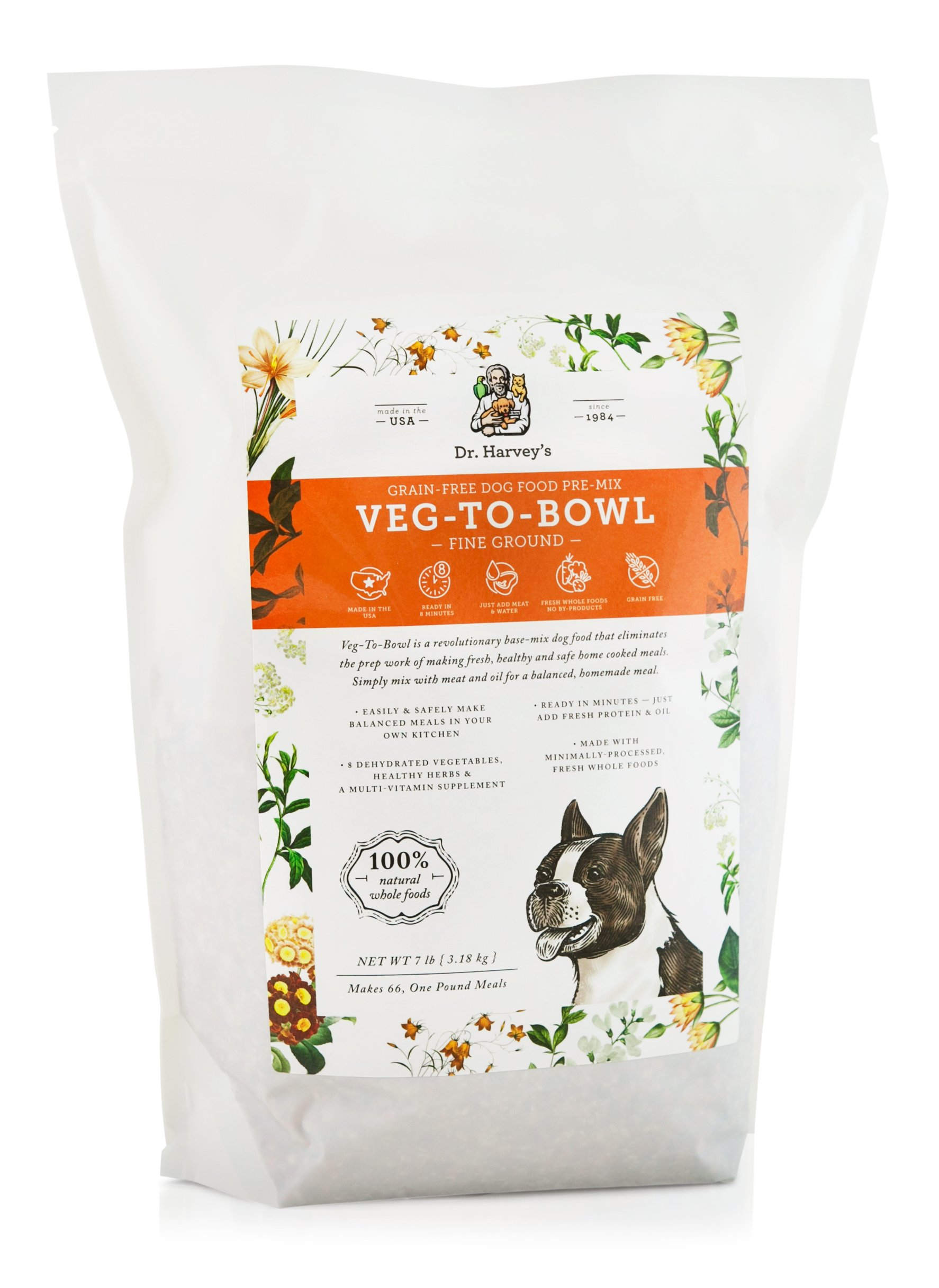 Dr. Harvey's Veg-to-Bowl Fine Ground Dog Food, Human Grade Dehydrated Base Mix for Dogs, Grain Free Holistic Mix for Small Dogs or Picky Eaters (7 Pounds) by Dr. Harvey's