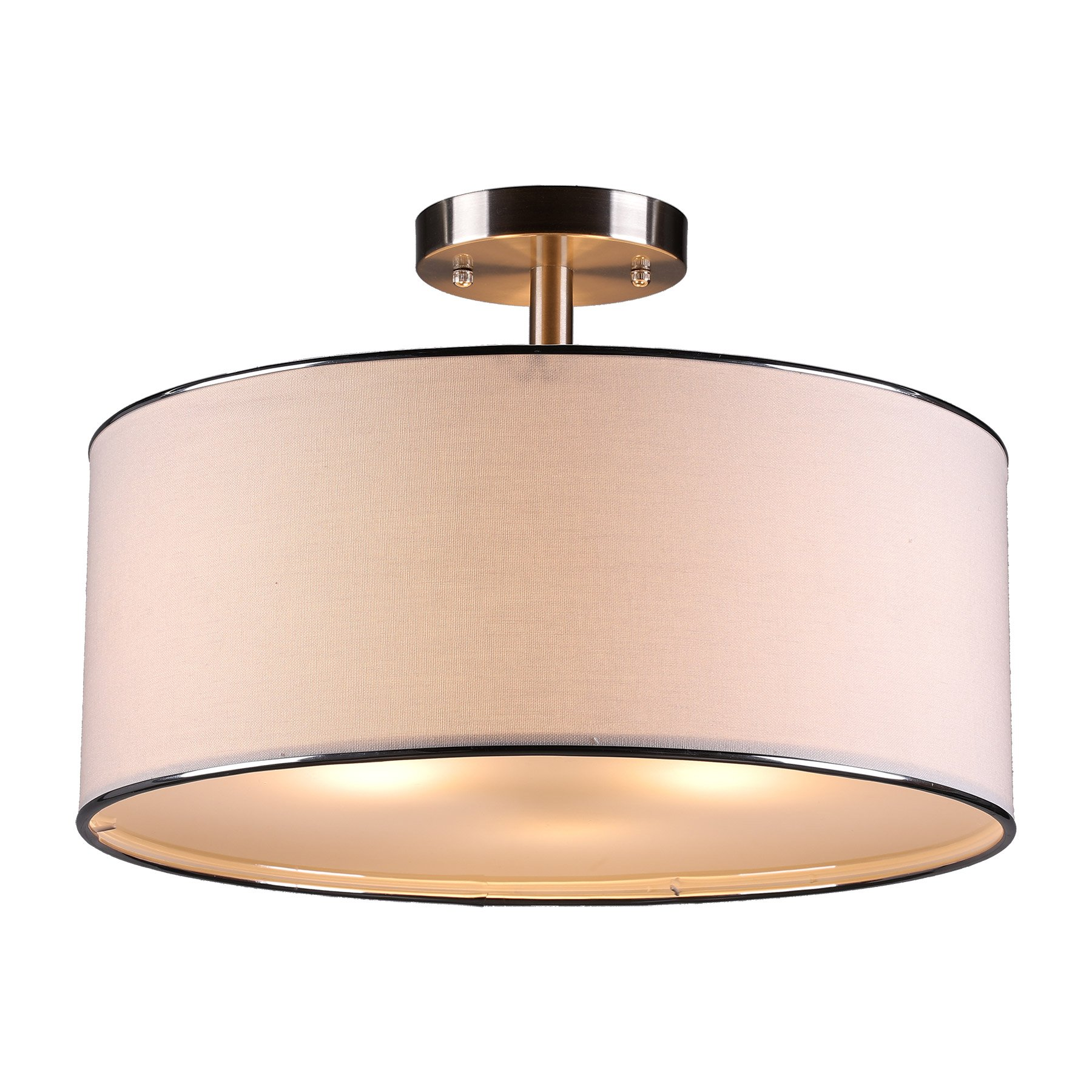 CO-Z Brushed Nickel 3-Light Drum Chandelier, Semi Flush Mount Contemporary Ceiling Light Fixture with Diffuse Shade for Kitchen, Hallway, Dining Room