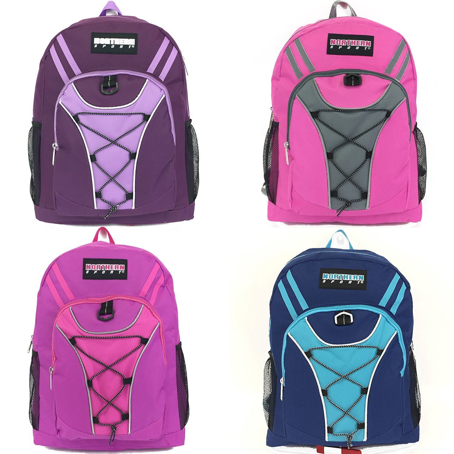 Wholesale Girls 19'' Bungee Design Backpack In 4 Assorted Colors - Case of 24 by Northern Sport