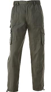 Amazon.com: Mens Full Elastic Waist CARGO Pants with VELCRO Fly ...