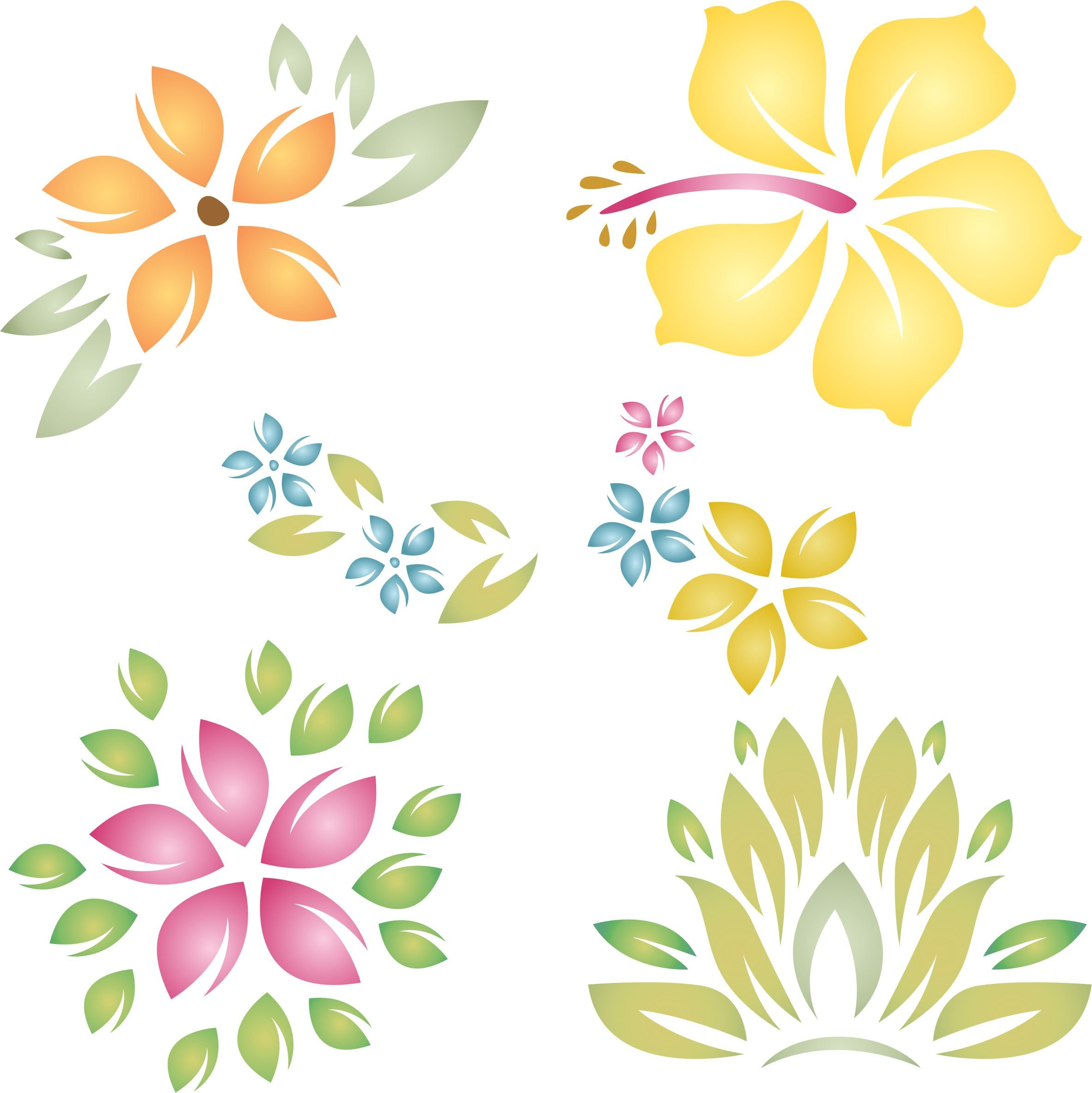 Tropical Flowers Stencil - (size 6.5''w x 6.5''h) Reusable Wall Stencils for Painting - Best Quality Template Allover Wallpaper ideas - Use on Walls, Floors, Fabrics, Glass, Wood, and More... by Stencils for Walls