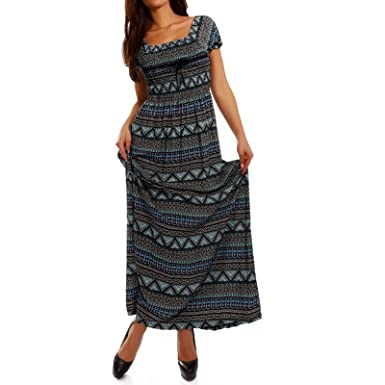 Damen Maxikleid Kleid Carmen Ausschnitt Kleid Lang Farbe Mehrfarbig