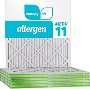 """Canopy Air 20x25x1, Allergen AC Furnace Air Filter, MERV 11, Made in The USA, 6-Pack (Actual Size 19 1/2"""" x 24 1/2"""" x 3/4"""")"""