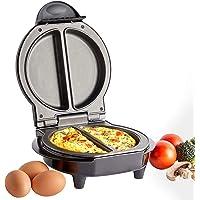 VonShef Omelette Makers – Olla eléctrica individual y doble para tortillas, huevos fritos y revueltos – Sartén antiadherente Dual negro