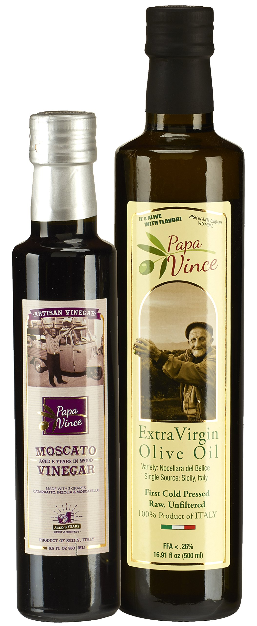 Papa Vince Olive Oil Extra Virgin + Balsamic Vinegar: EVOO First Cold Pressed 16.9 fl oz, Aged 8-years in wood 8.5 fl oz, Italian Salad Dressing Ingredients - Produced by our family in Sicily by Papa Vince (Image #1)