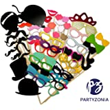 Photo Booth Props by Partyzonia - Highest Quality DIY Photobooth Props - 58 pieces for all types of parties: Birthdays, Wedding, Holiday Party, Babyshower, Garden Parties