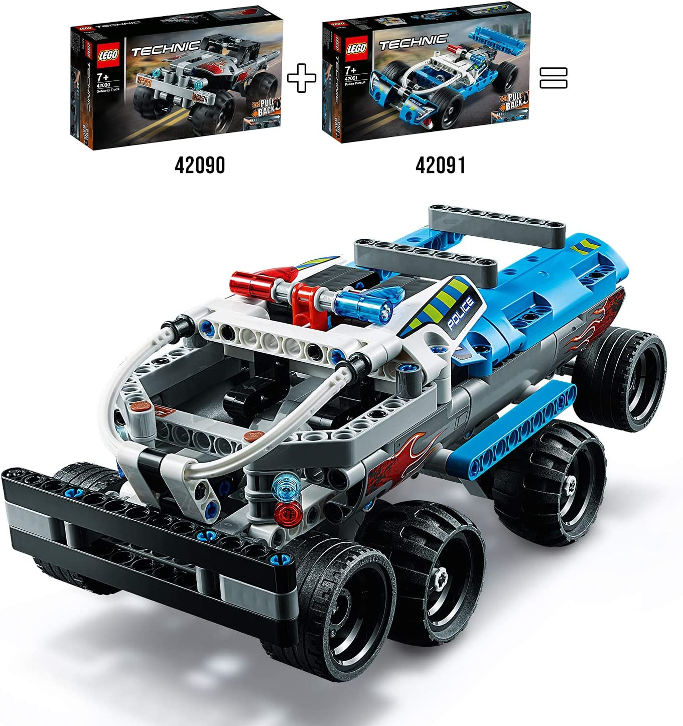 Amazon Com Lego Technic Police Pursuit Toy Car Vehicle Pull Back Motor Police Toys For Kids Toys Games