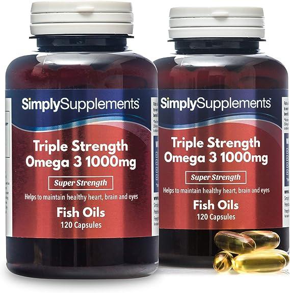 Omega 3 1000mg Triple acción - ¡Bote para 8 meses! - Extra fuerte - 240 cápsulas - Con un alto contenido de DHA y EPA - SimplySupplements: Amazon.es: Salud y cuidado personal