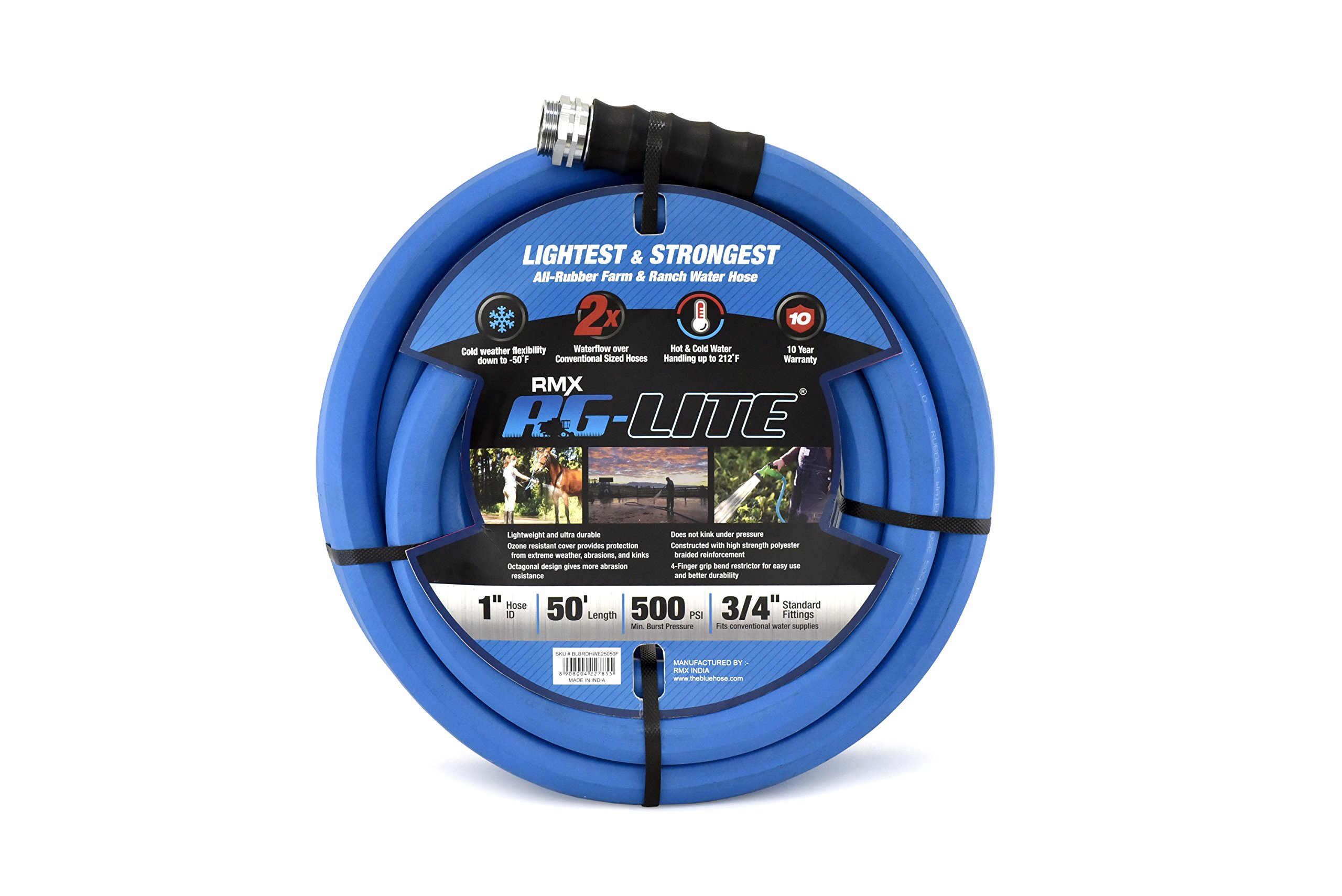 AG-LITE Rubber Hot & Cold Water Rubber Contractor, Farm & Ranch Hose: Ultra-Light & Super Strong - 10 Year Warranty (1'' x 50')