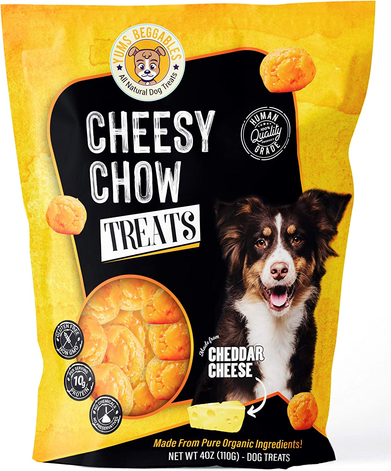 Cheesy Chow Freeze Dried Cheddar Cheese Treats – Human Grade Dog Rewards – 100% Real Cheese All Natural Ingredients – Keto-Friendly, Gluten, and Preservatives Free