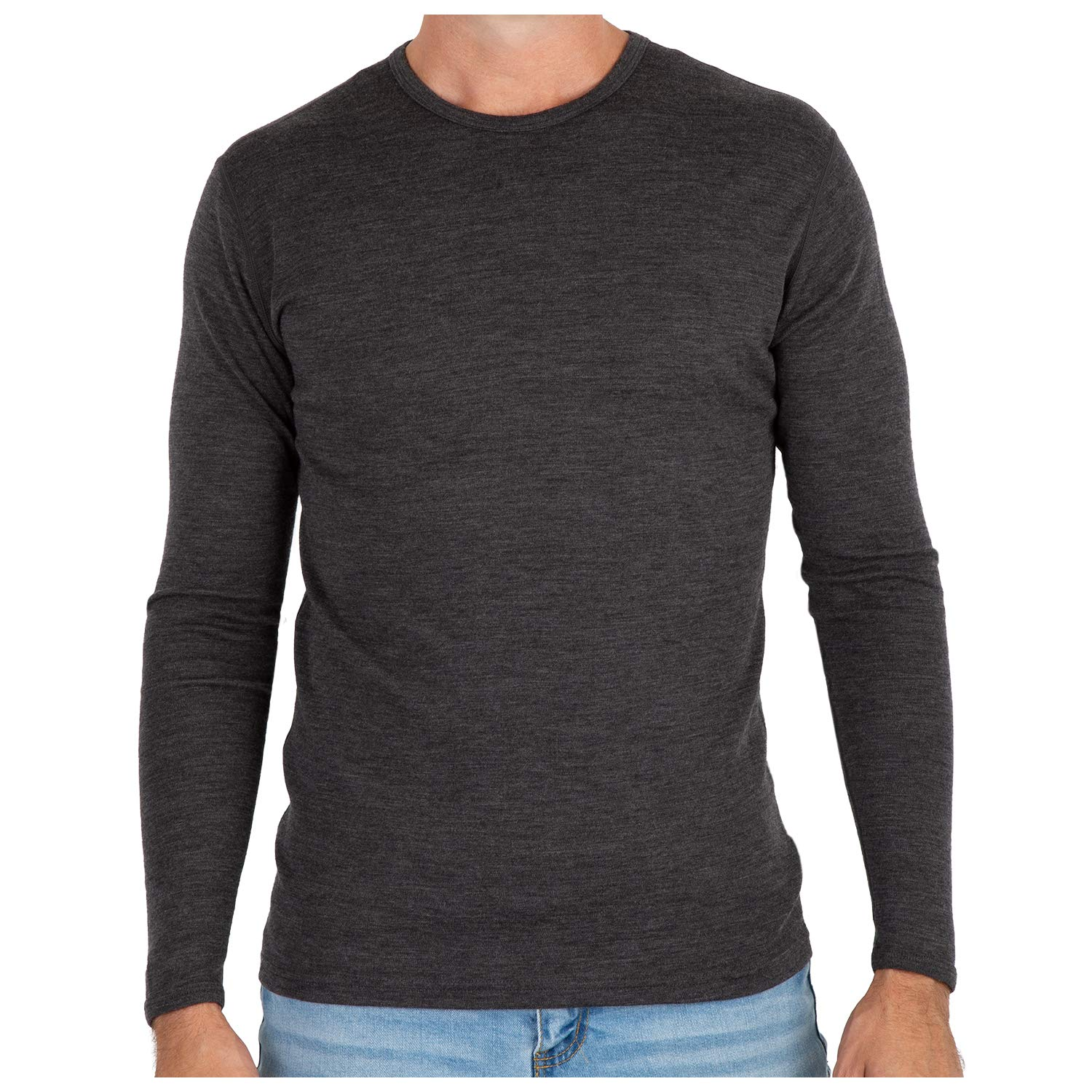 MERIWOOL Men's Merino Wool Midweight Baselayer Crew - Charcoal Gray/S