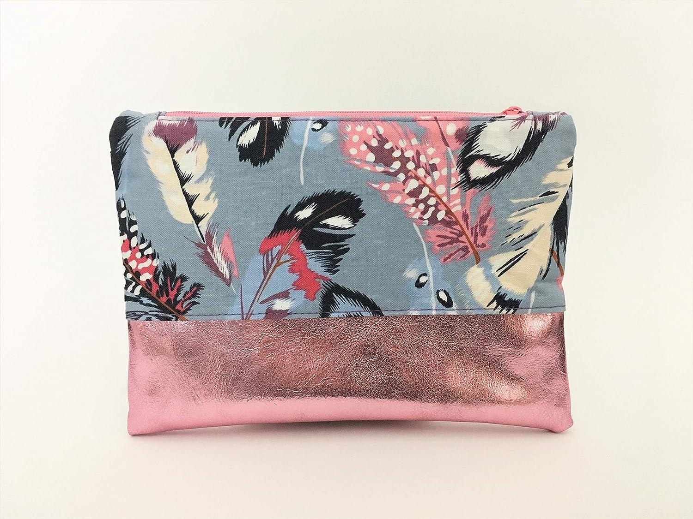 Kleine Kosmetiktasche, Schminktasche Boho Stil Federn mit glä nzendem Kunstleder in Rosa