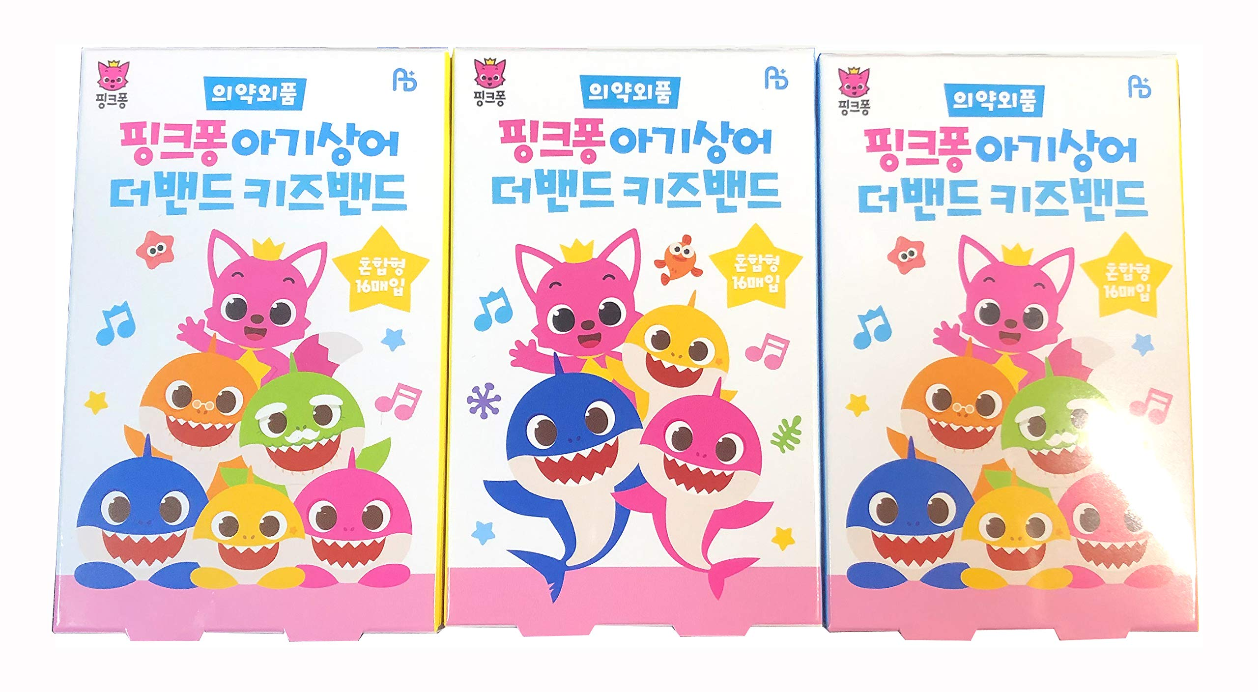 Pinkfong Baby Shark Kids Band-Aid 16 ea 3 Pack