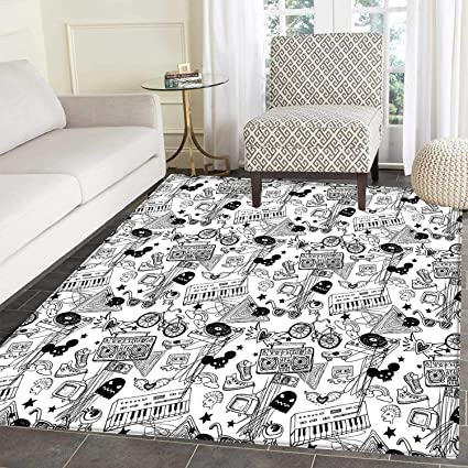Amazon Com Black And White Area Silky Smooth Rugs Punk Teenage