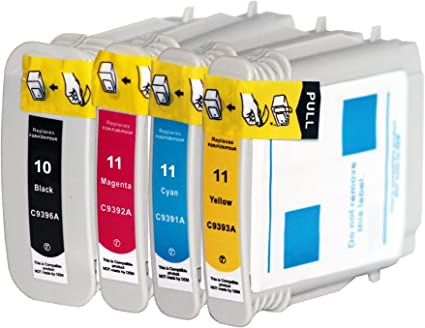 4x Compatible Cartuchos de tinta con Hp 10 XL HP 11 XL para HP Officejet 9100
