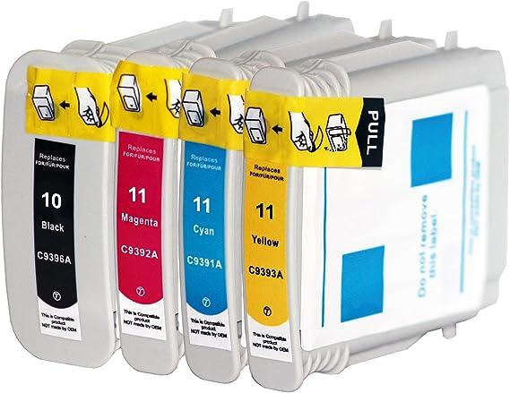 4x Compatible Cartuchos de tinta con Hp 10 XL HP 11 XL para HP ...