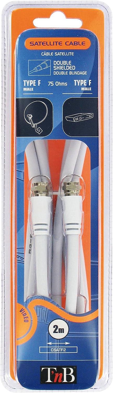 TnB CSATF2 - Cable de antena satélite (2 conectores F, macho-macho, 2 m)