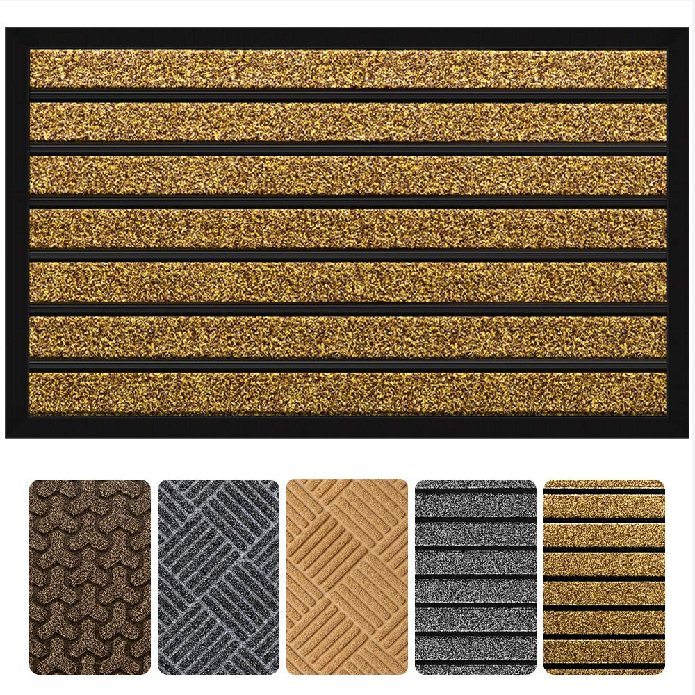 "Outside Shoe Mat Rubber Doormat for Front Door 18""x 30"" Outdoor Mats Entrance Waterproof Rugs Dirt Debris Mud Trapper Carpet for Patio Non Skid Doormats all Weather Exterior Door Mat"