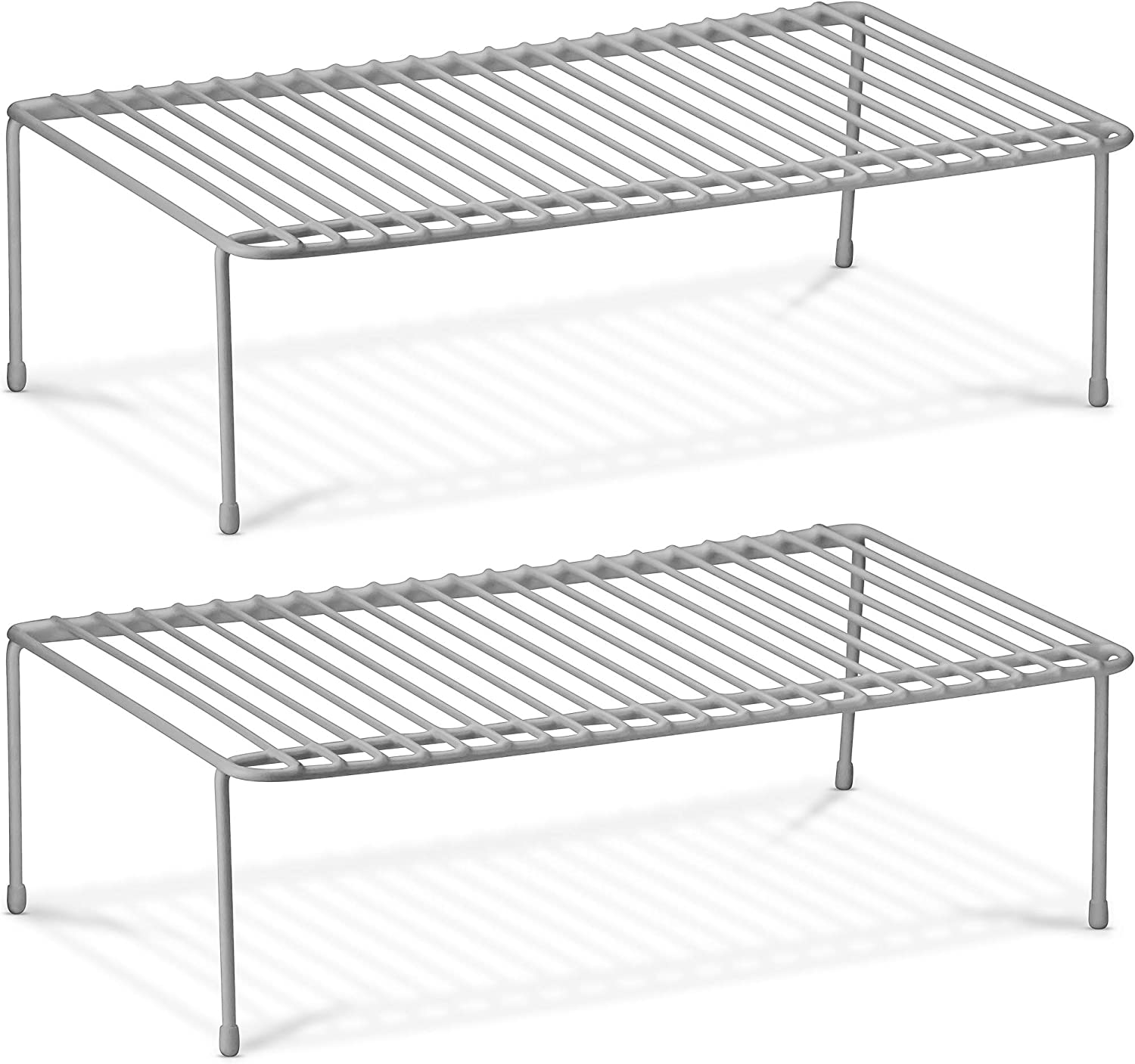 DecorRack 2 Counter and Cabinet Shelf Racks, Kitchen Storage Organizer, Steel Metal Wire Shelves for Pantry, Closet and Freezer 17.5 x 10 x 5.25 inch (2 Pack)
