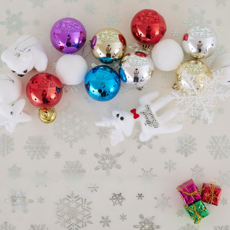 Deconovo No/ël Decoration Tissu en Tulle Party Nappe Flocon de Neige Arbre de No/ël pour P/âques Organza Tissu 150x300CM Blanc