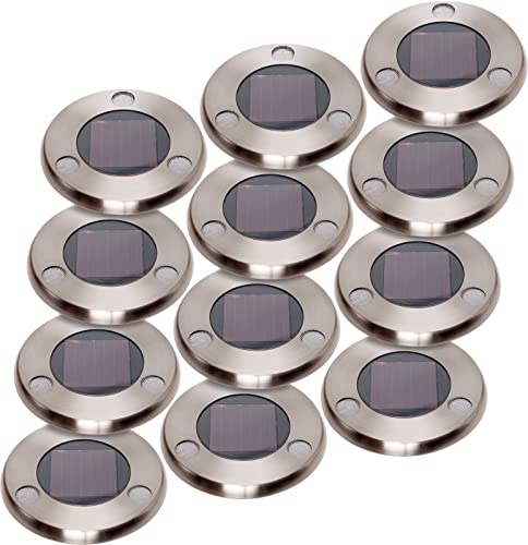 GreenLighting Solar Flat In-Ground Driveway Light Set 12 Pack Stainless Steel