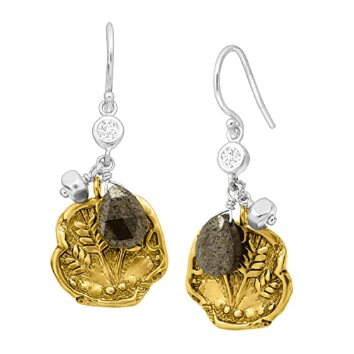 Silpada Perfect Composition Natural Pyrite Cubic Zirconia Drop Earrings in Sterling Silver Brass