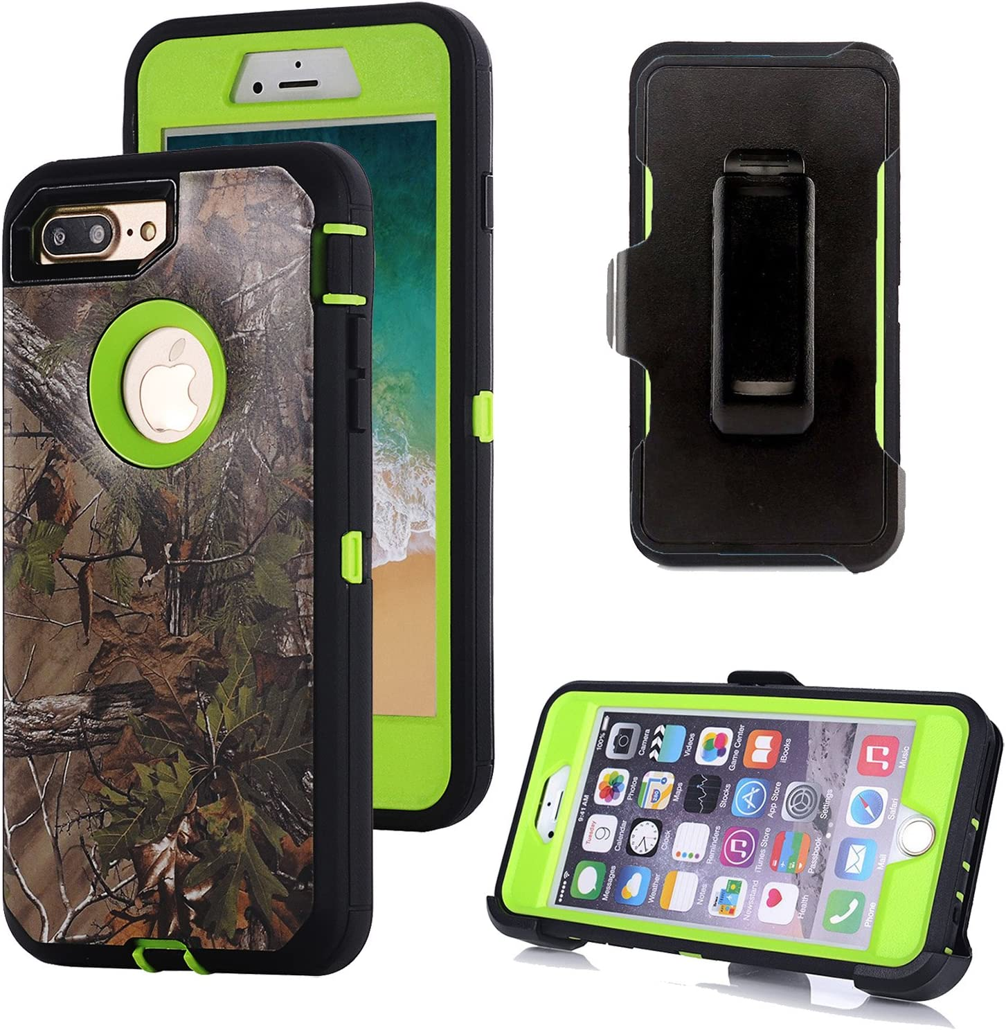 iPhone 8 Plus Case, Harsel Heavy Duty Camo High Impact Tough Hybrid Rugged Armor Military Grade Protective Case with Belt Clip Built-in Screen Protector for iPhone 8 Plus / 7 Plus (Forest Green)