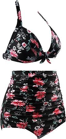 Aixy Mujer Vintage Bañadores Cuello Halter Polka Dot Cintura Alta Bikini Estampado Floral Trajes de Baño Dos Piezas