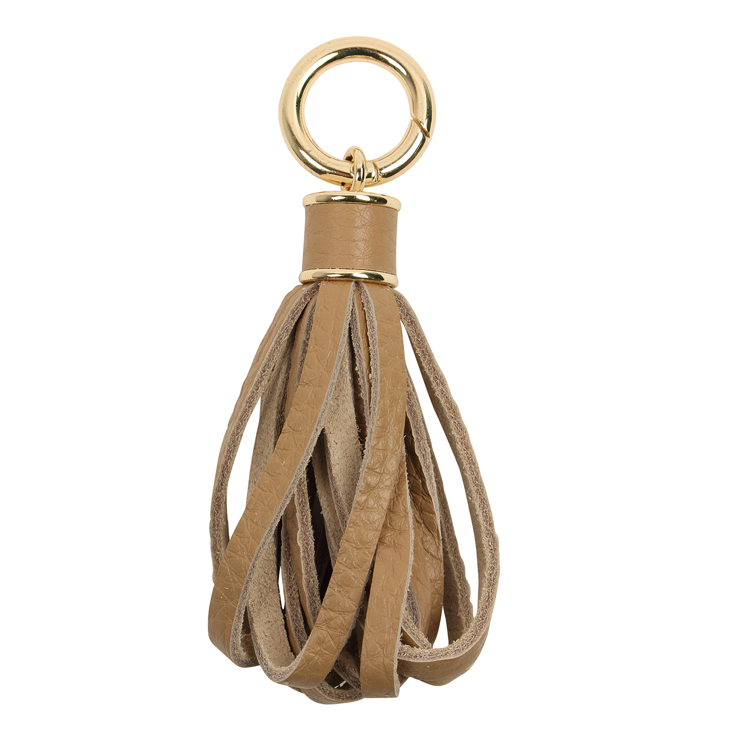 Women Genuine Leather Tassel Charm For Handy Handbag Purse Bag Wallet Smartphone Key Rings Accessories (D-beige)