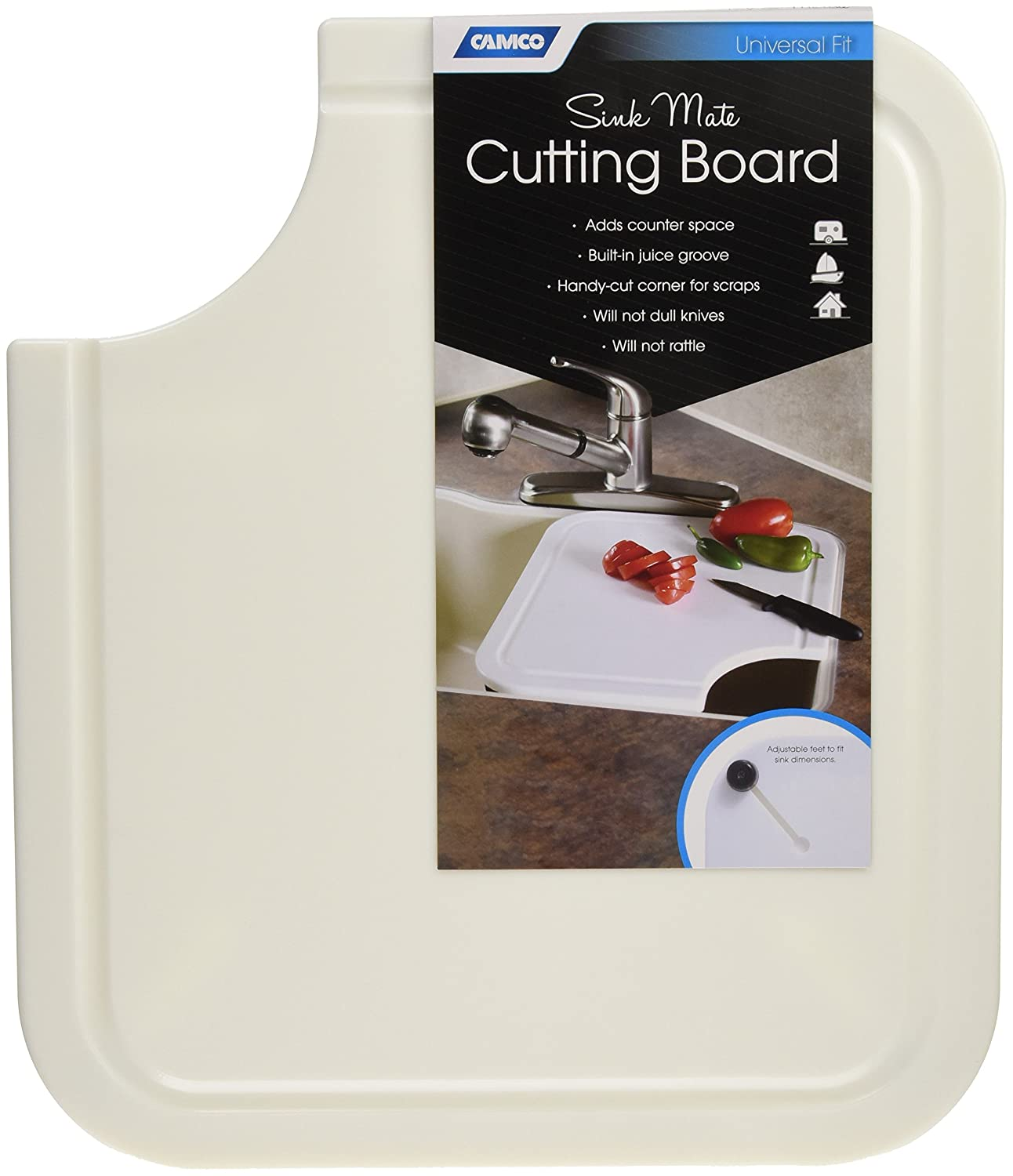 Amazon.com: Camco Sink Mate Cutting Board   Designed For RV, Camper, And  Trailer Kitchen Sinks  Create More Counter Space, Cut Corner For Scrap  Release, ...