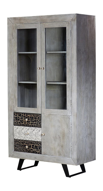 The Wood Times Wohnzimmerschrank Massiv Vintage Look Cell Mangoholz, BxHxT 100x185x42 cm
