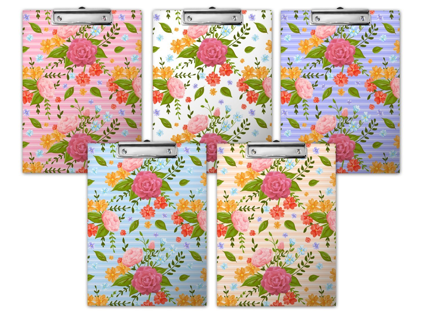Floral Roses Printed Paperboard Clipboard 5pk Multi Colorful Clipboards