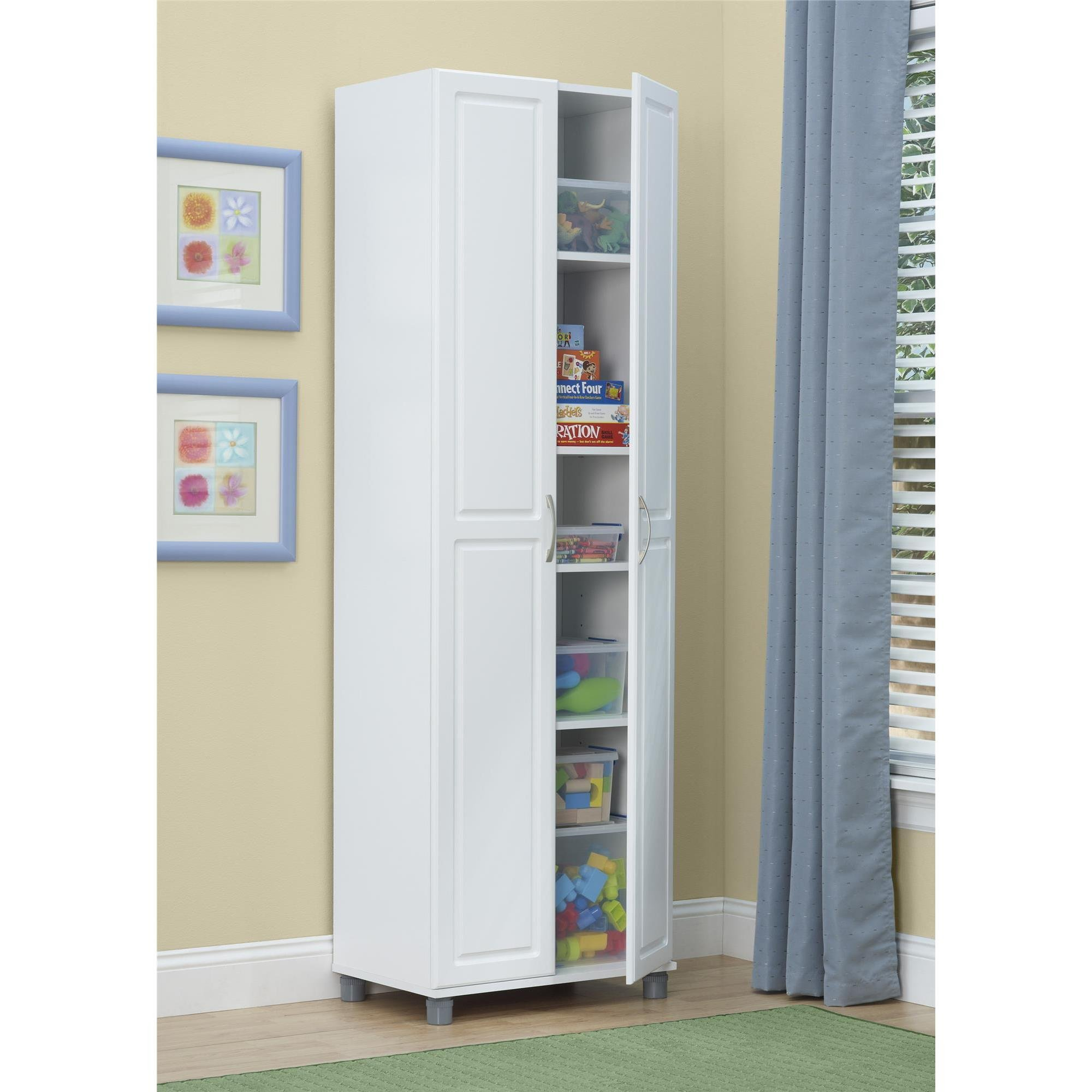 Altra SystemBuild White Kendall 24 inch Storage Cabinet, Perfect As A Kitchen Pantry Or In A Child's Playroom.