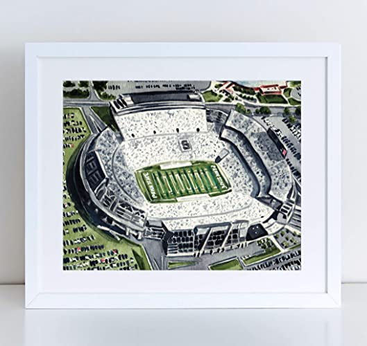 Penn State Beaver Stadium Art Print Watercolor Painting Wall Home Decor White Out Happy Valley Nittany Lion PSU Football Joe Paterno Graduation Gift Canvas