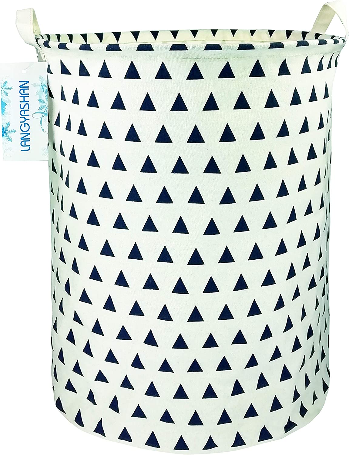LANGYASHAN Storage Bin,Canvas Fabric Collapsible Organizer Basket for Laundry Hamper,Toy Bins,Gift Baskets, Bedroom, Clothes,Baby Nursery (Navy Triangle)