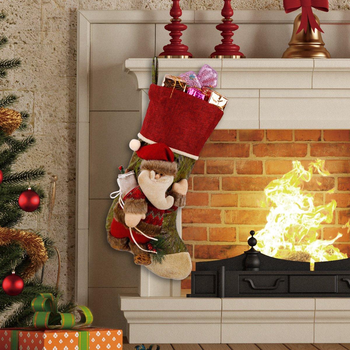 3D Vif Rétro Personnalisé Chaussettes de Noël Décoration de la Maison Arbre de Noël Cheminée Suspension Nouvel An Chaussettes de Noël Bonbon de Christmas Présent Décoration Chaussettes Sac (Père Noël)
