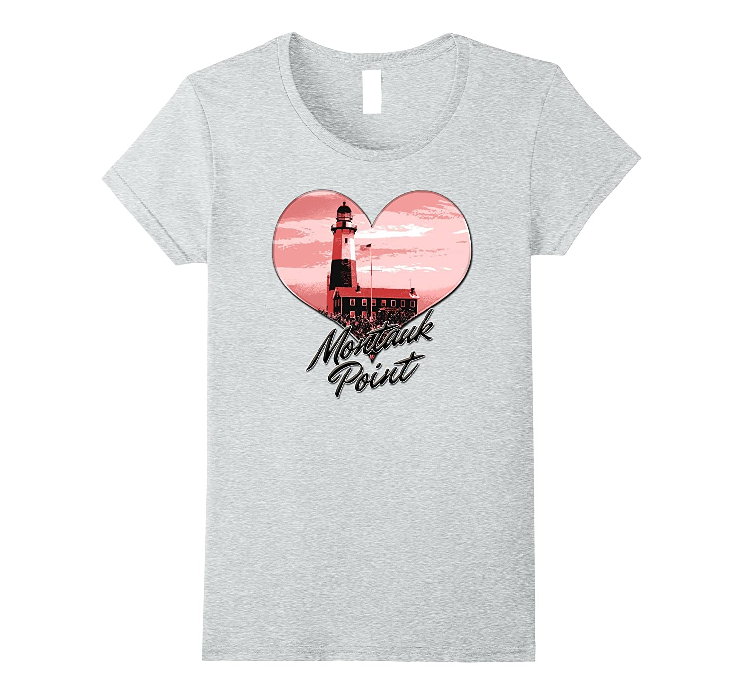 Lighthouse Souvenir Montauk Point The End Pink Heart Tshirt