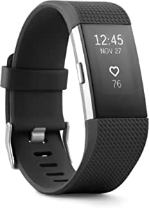 Fitbit Charge 2 Heart Rate + Fitness Wristband, Black, Large (US Version), 1 Count