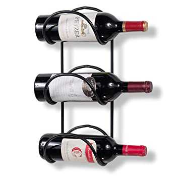 Wallniture Wrought Iron Wine Rack 3 Sectional Wall Mount Bottle Storage Display Black